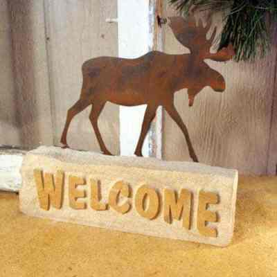 Natural Slate Sandstone and Patina Metal Welcome Door Stop - Moose Design
