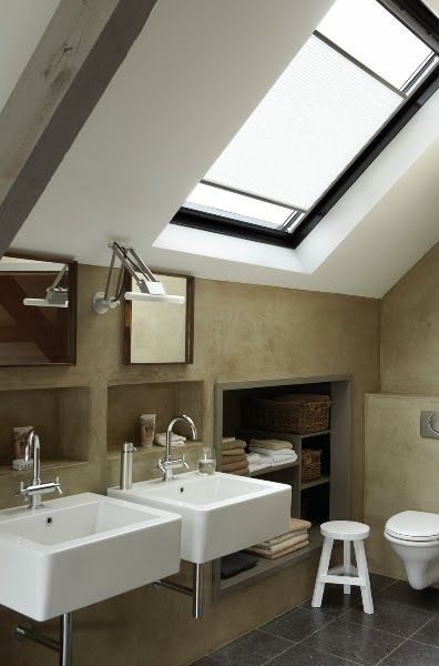 modern attic bathroom design idea