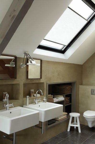 modern attic bathroom design idea