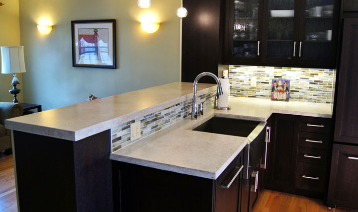 farm sink for kitchen touchless faucets concrete countertop | countertops design ...