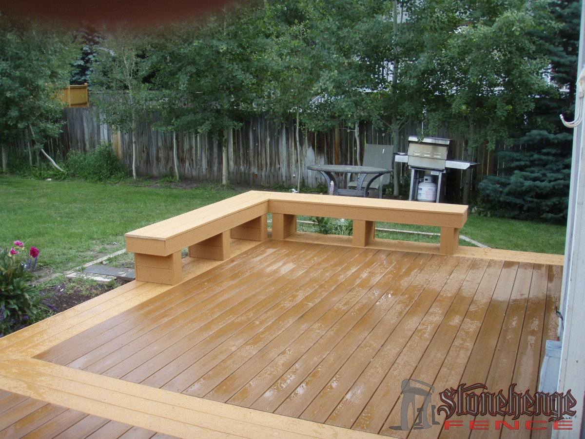 deck benches stonehenge fence