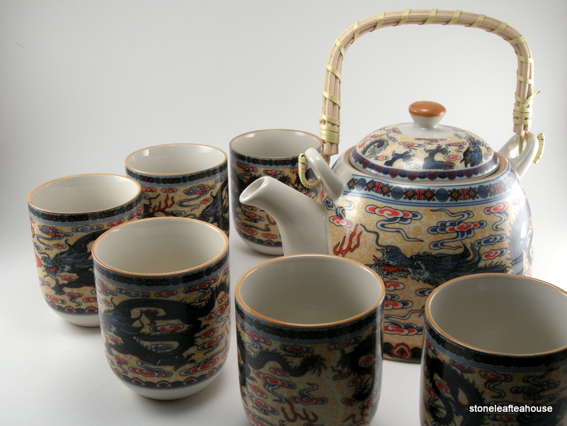 golden dragons porcelain teapot set