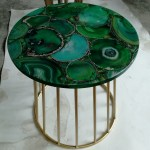 40cm Dark Green Agate Stone Table Top Golden Metal Base