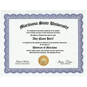 Marijuana State University Gag Gift Diploma