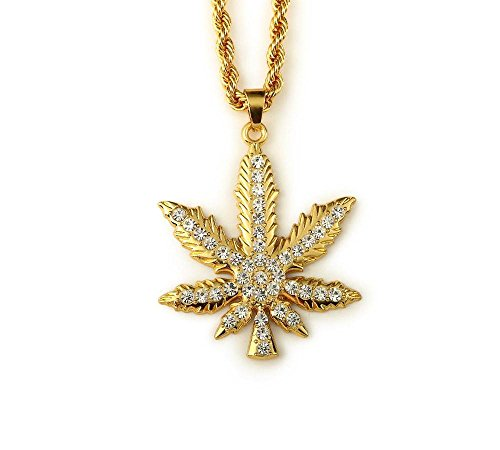 Gold Plated Weed Leaf Pendant Necklace