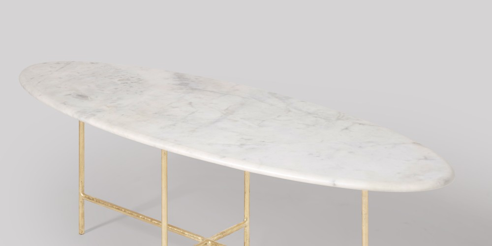 Oval Marble Coffee Table With Gold Legs