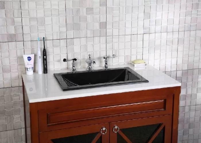 Black Granite Countertops Single Sink Polished Treatment Cnc Engraved