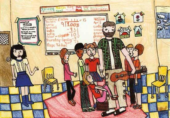 rain tears teacher and children in a classroom
