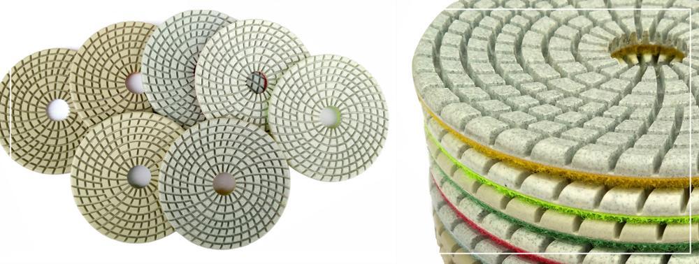 Raizi 4 inch wet diamond sanding disc with round edge for Marble,Granite,Engineered Stone Grit 50-3000