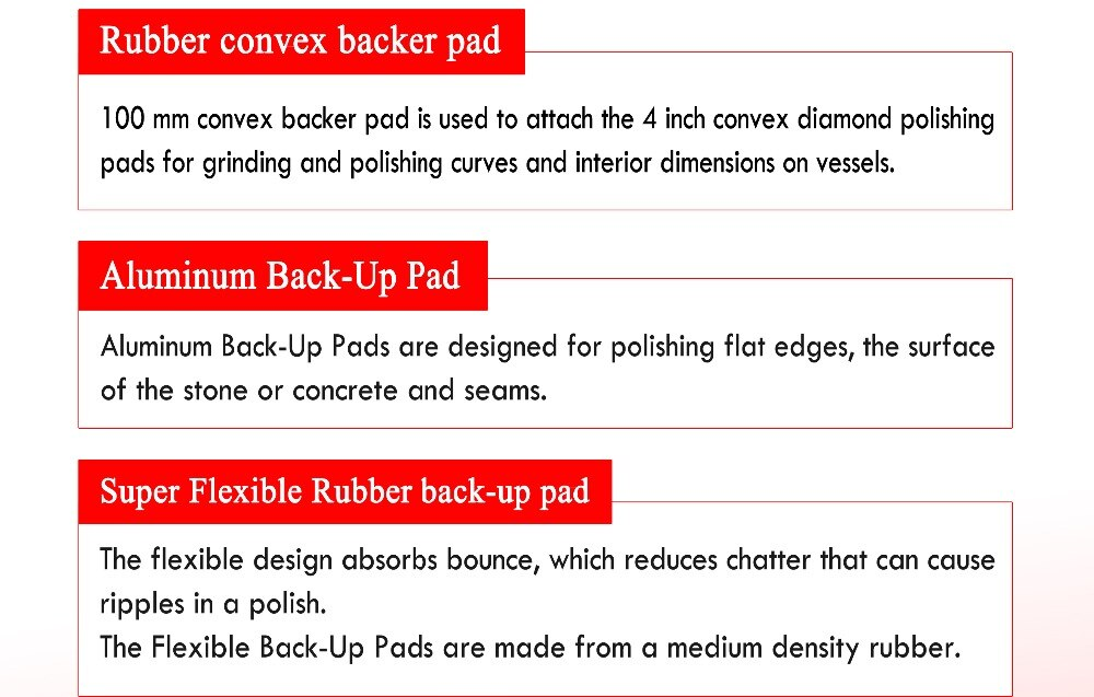 Raizi 4 Inch Rubber Super Flexible Backer Pad For Diamond Polishing Pad/Disc 100 mm Hook And Loop Back Up Pad