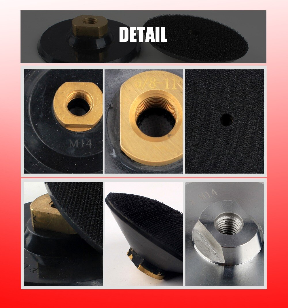 """Hook and Loop Rubber Backer Pad For Diamond polishing Pad/Disc M14 5/8""""-11 