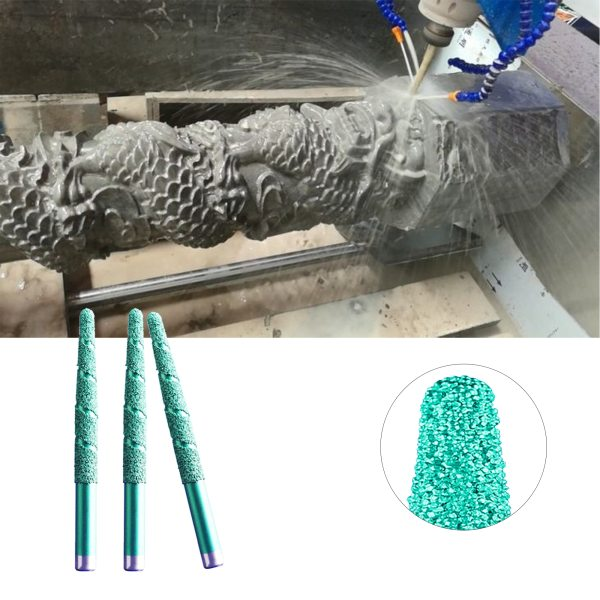Brazing CNC stone engraving bit | Marble carving tools | tapered slotted | 1PC