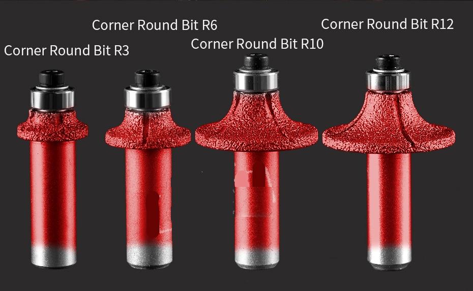 1/2 inch shank Corner round router bit diamond vacuum brazed stone cutter bits CNC machine grinding wheel
