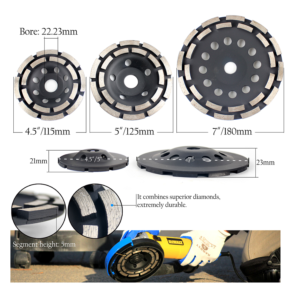 115/125/180 mm Diamond Grinding Cup Wheel For Concrete Abrasive Grinding Disc Cutting Saw grinder wheel