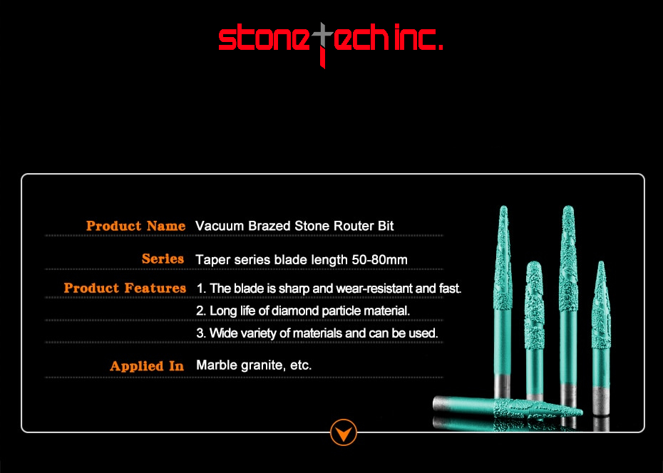 CNC router bits taper marble granite carving tools Brazing stone engraving bits end mill   6/8/12mm
