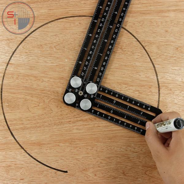 Ceramic Tile Saw Hole Locator Adjustable Woodworking Six Folding Ruler Aluminum Alloy Hole Punch Hand Tool