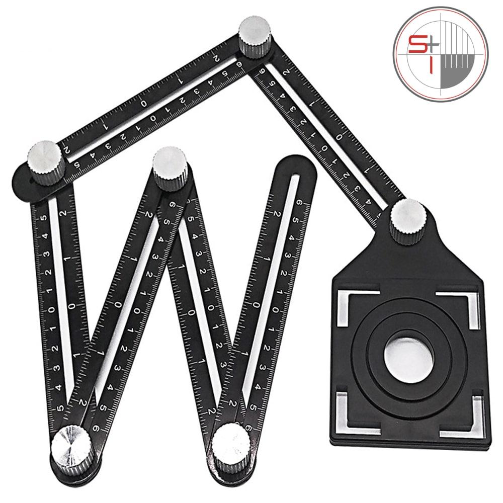 Six-Fold Ruler Aluminum Alloy Tile Opening Locator Tile Glass Universal Hole Punch Tools