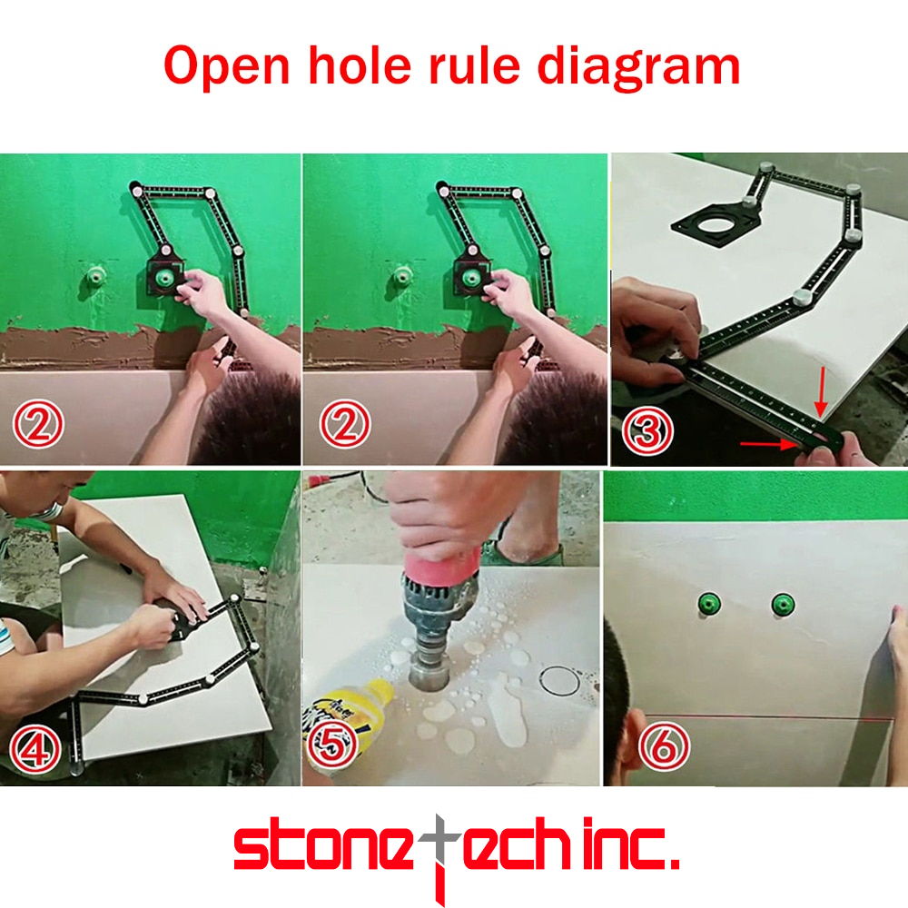 Six-Fold Ruler Aluminum Alloy Tile Opening Locator Mud Tile Shop Paste Floor Tile Glass Vientiane Universal Hole Punch Tools