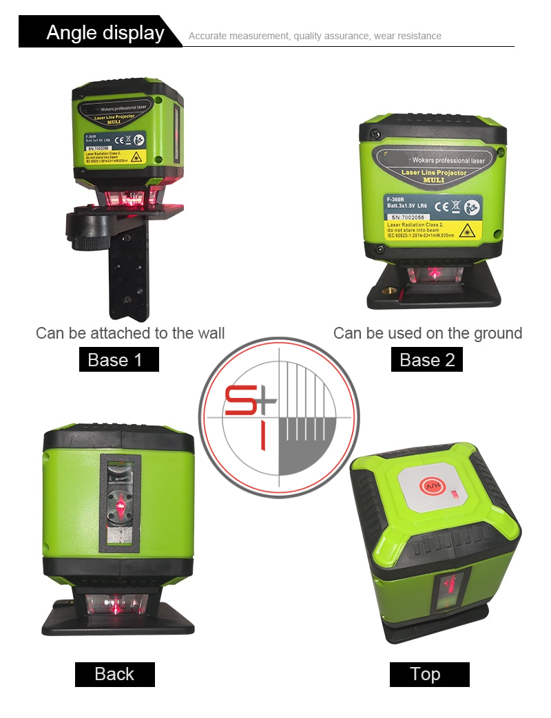 muli Portable 5 Lines Red Beam Floor Laser Level for Tile Laying Square Leveling Cross Line Laser 360 Degrees Horizontal Cover