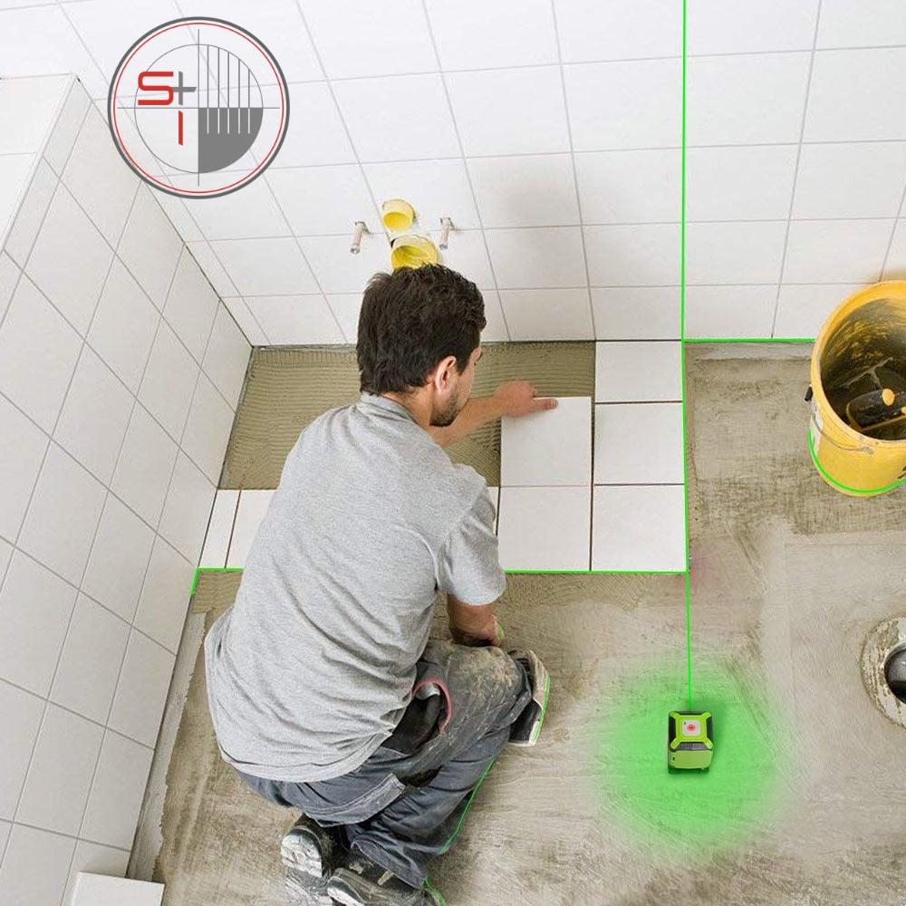 Huepar Floor Laser Level Green Beam Installation Laser with Line-Switching Mode for Tile Laying Square Leveling Cross Line Laser