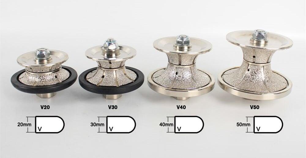 Vacuum Brazed Diamond Hand Profile Full Bullnose Wheel | V 20-50mm | Profiling Router Bits | Granite Marble Profiler Tool