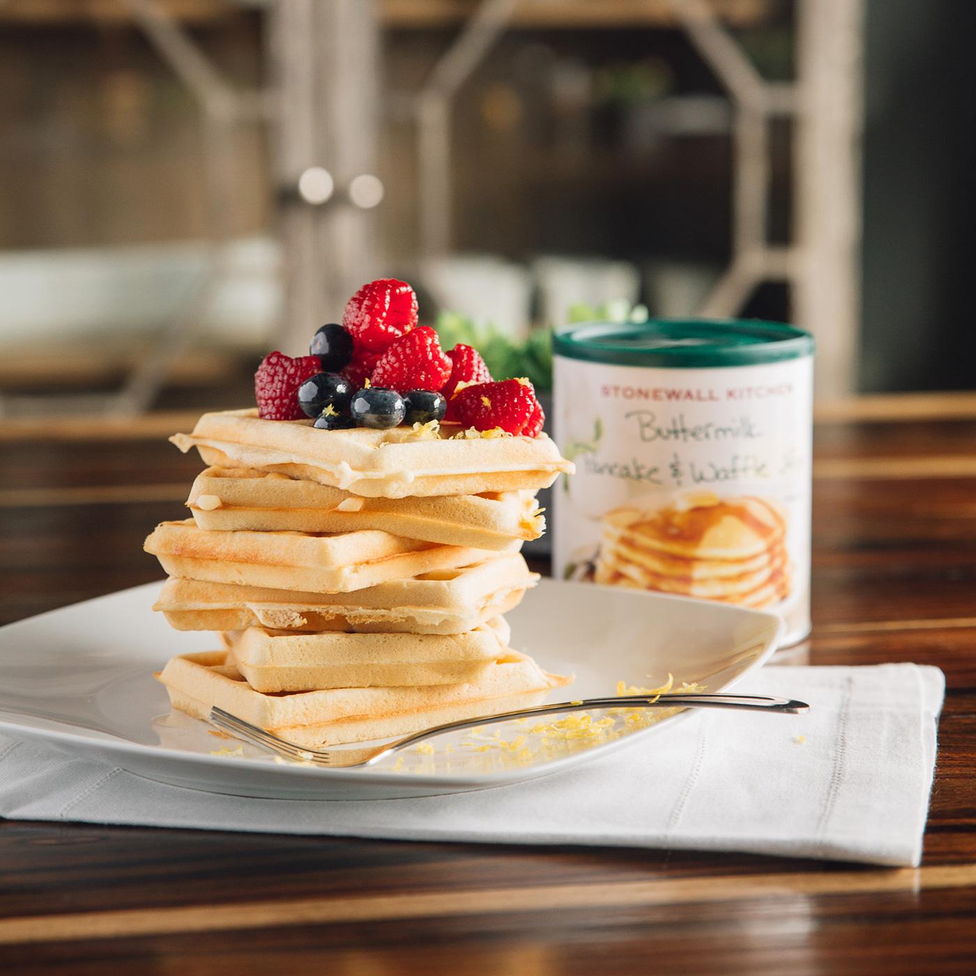 stonewall kitchen pancake mix table set with bench buttermilk & waffle | pancakes syrups ...