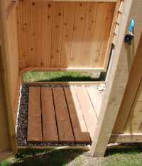 Outdoor Shower Plans - Cedar Outdor Shower Floor with ...