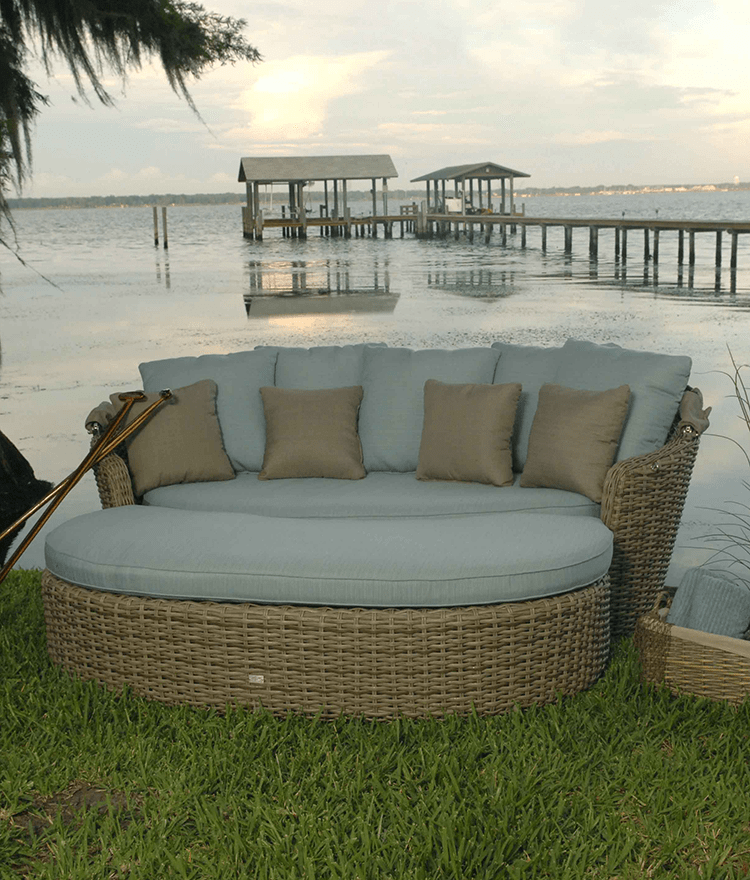 outdoor chair and ottoman fishing adjustable legs dreux daybed ebel furniture stonewood products with