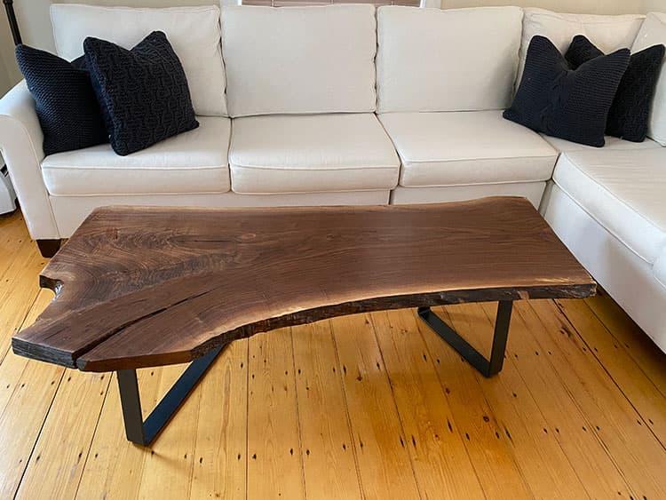 live edge wood slab coffee table