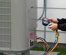 examining HVAC unit