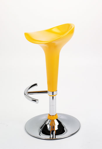 revolving chair for kitchen garden covers asda breakfast bar stools chrome brushed steel counter spakas gloss yellow adjustable stool