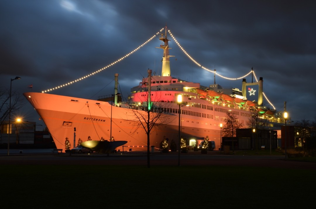The ss Rotterdam by night