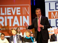Een Leave means Leave- bijeenkomst met Richard Tice, Kate Hoey, Nigel Farage en Ian Duncan-Smith.