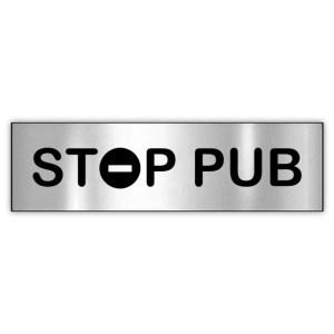 Plaquette STOP PUB argentée
