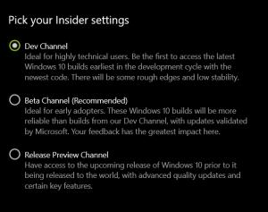 Pick you Insider Setting - Windows 10