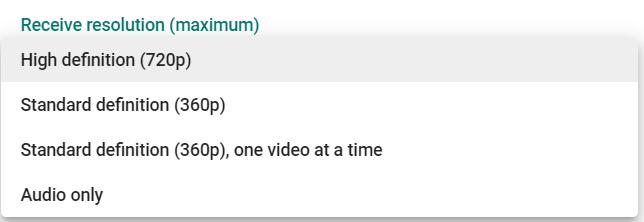 Receive Resolution - Google Meet
