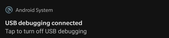 Notification Pane - USB Debugging