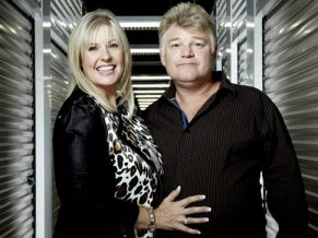 Dan Dotson and his wife on the set of storage wars filming