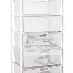 Folding Kitchen Cart Outdoor Griddle Mesh Drawer Baskets White 6 Tier From Storage Box