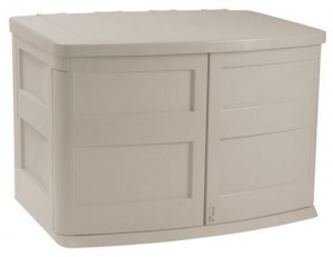 suncast horiztonal garbage can storage