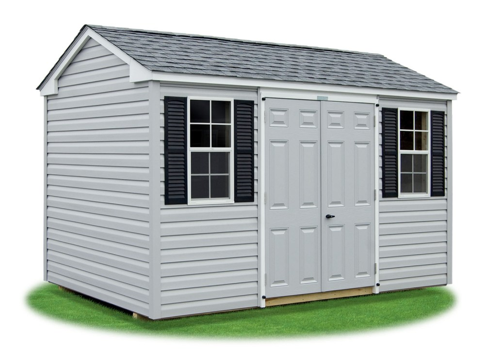 medium resolution of 8x12 vinyl sided side entry peak storage shed available at pine creek structures