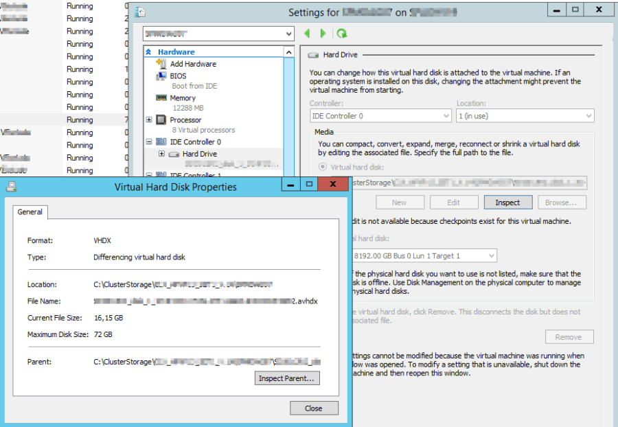 Hyper-V VM referring to a missing file