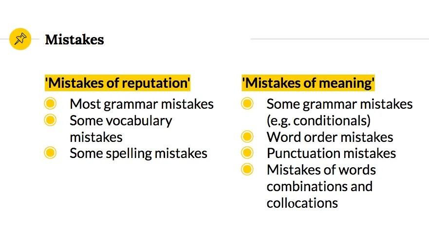 Types of language mistakes