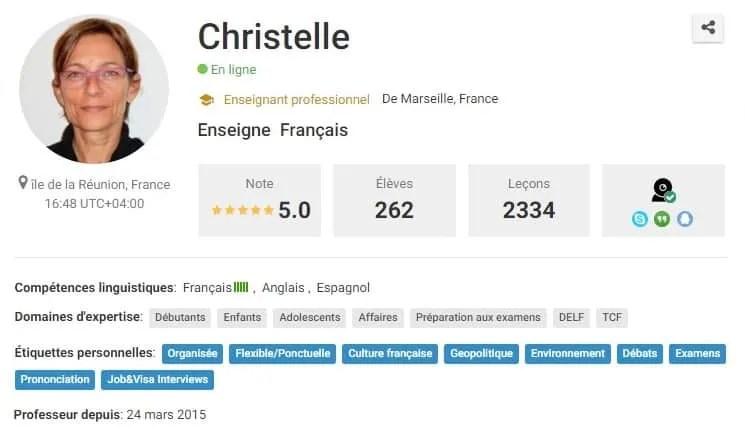 Christelle French Teacher   Italki profile