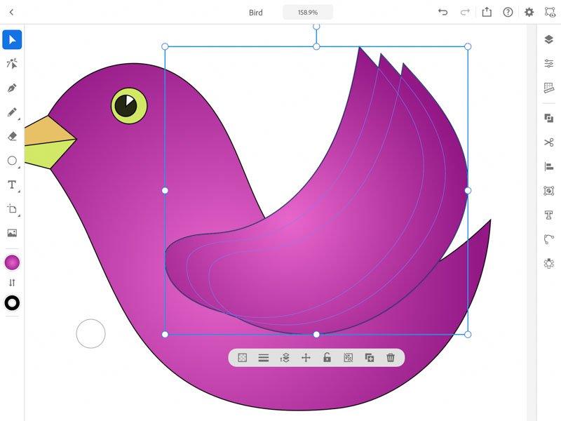 combinare obiecte Adobe Illustrator iPad