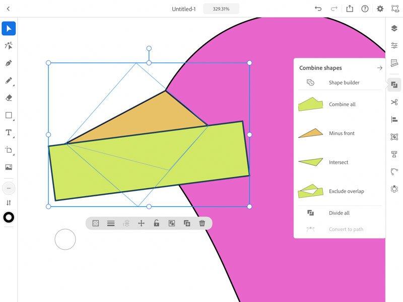 shapes builder Adobe Illustrator iPad