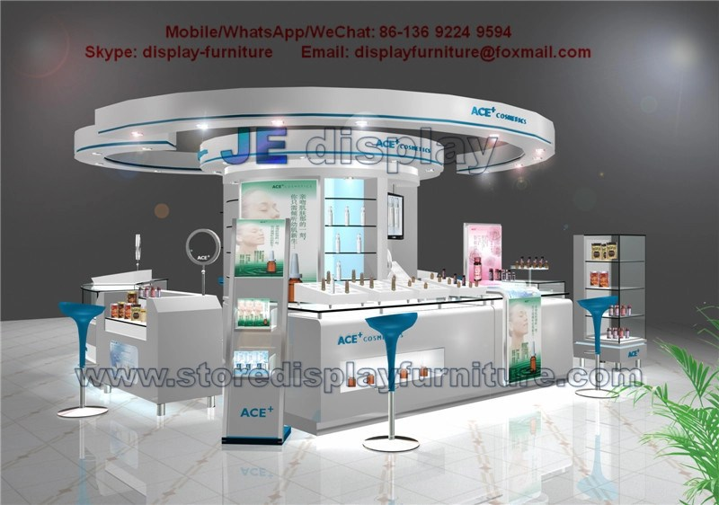 Circular Cosmetics Display Kiosk by White Counters and