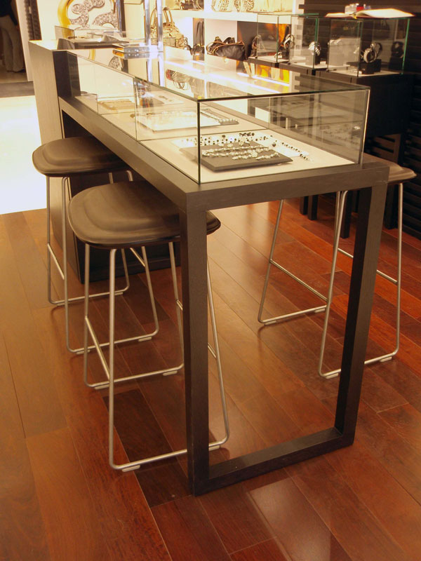 Wooden Jewelry Display Counter With Glass Showcase For