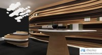 Chinese Tea retail store interior design by wood walls as ...