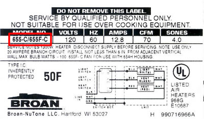 Where To Find The Model Number on Broan Nutone Parts at